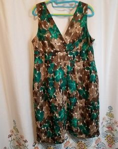 Axcess Dresses - Axcess brown and green watercolor floral dress